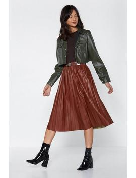 Pleat Moves Faux Leather Skirt by Nasty Gal
