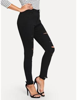 Raw Hem Knee Rips Jeans by Sheinside