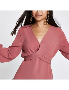 Petite Copper Twist Front Long Sleeve Blouse by River Island