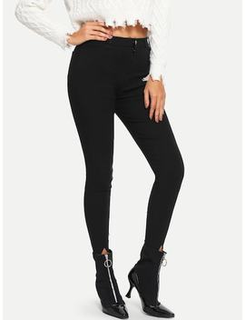 Button Waist Skinny Jeans by Sheinside