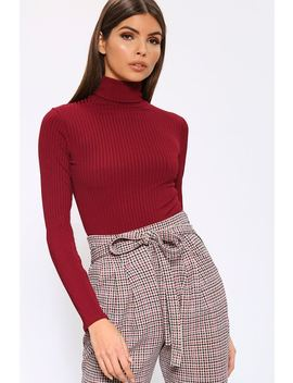 Burgundy Roll Neck Long Sleeve Jumbo Ribbed Top by I Saw It First