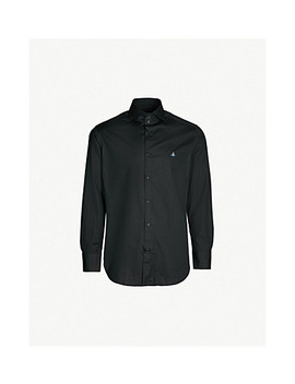 Logo Embroidered Classic Fit Cotton Poplin Shirt by Vivienne Westwood