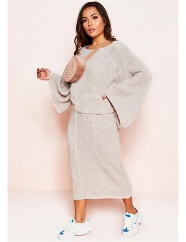 Abbey Beige Cable Knit Wide Sleeve Co Ord Set by Missy Empire