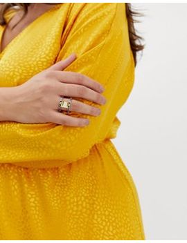 Asos Design Curve Exclusive Statement Ring With Rainbow Crystals And Square Jewel In Gold by Asos Design