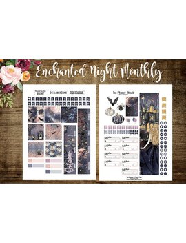 October Monthly | Big Happy Planner | Enchanted Night | Printable Planner Stickers | October | Monthly View | Printable Stickers | Cut Files by Etsy