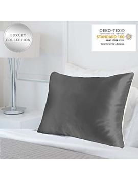 Myk Pure Natural Mulberry Silk Pillowcase, 25 Momme With Cotton Underside For Hair & Skin, Oeko Tex, Charcoal Grey, Queen by Myk