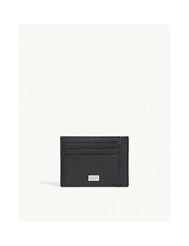 Crosstown Grained Leather Card Holder by Boss