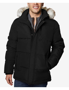 Men's Long Hooded Coat With Faux Fur Trim by Halifax