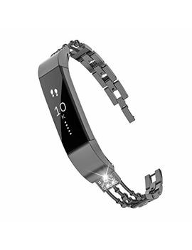 Wearlizer For Fitbit Charge 2 Strap, Metal Replacement Bands With Rhinestone Straps For Fitbit Charge Hr Two, Silver/Black/Rose Gold/Gold by Wearlizer