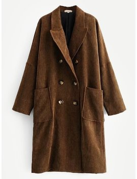 Corduroy Drop Shoulder Double Breasted Coat by Sheinside