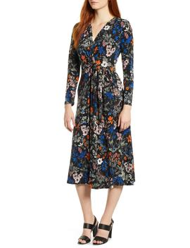 Botanical Faux Wrap Dress by Chaus