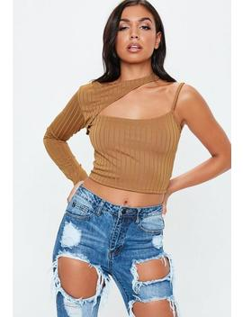 Camel Slash Neck One Sleeve Crop Top by Missguided