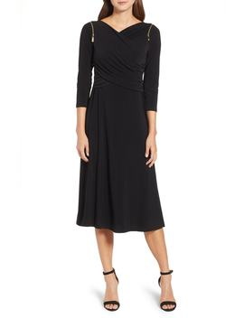 Zip Shoulder Ruched Surplice Dress by Chaus