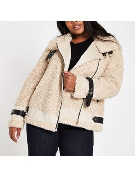 Plus Beige Borg Aviator Jacket by River Island