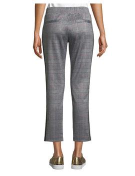 Glen Plaid Cropped Side Stripe Track Pants by Pam & Gela