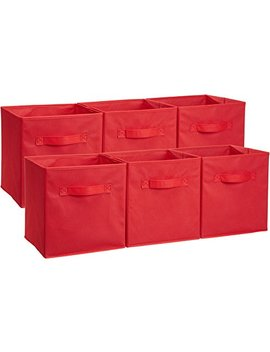 Amazon Basics Foldable Storage Cubes   6 Pack, Red by Amazon Basics
