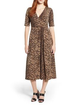 Leopard Print Faux Wrap Dress by Chaus