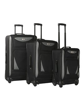 "3 Piece Expandable Luggage Set Includes 28"" Suitcase, 24"" Upright, And 20"" Carry On With Smooth Spinner Wheels And Reinforced Material, Black Color Option by Traveler's Club"