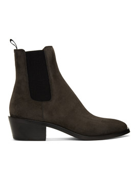 Grey Suede Chelsea Boots by Givenchy