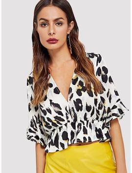 Leopard Print Ruffle Blouse by Shein