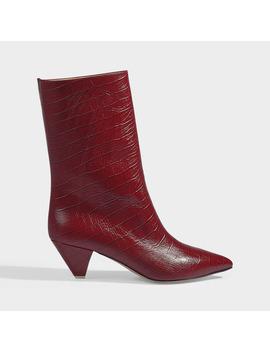 Sofia Croc Print Boots In Red Calfskin by Attico