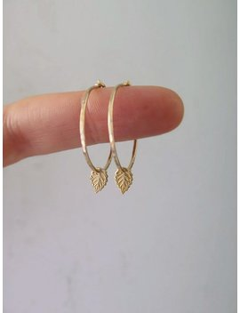 Thin Gold Hoops, Tiny Gold Leaf Earrings In 14k Gold Filled Or Sterling Silver, Tiny Hoops, Tiny Leaf, Gift For Mom, Mom Gift by Etsy
