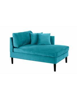 Mid Century Modern Plush Velvet Chaise Lounge (Blue) by Casa Andrea Milano