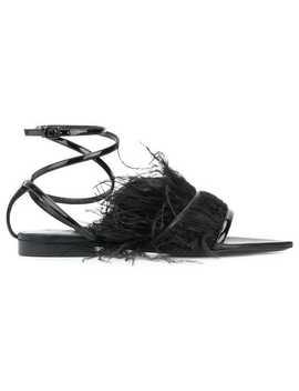 Feather Trim Ankle Strap Sandals by Saint Laurent