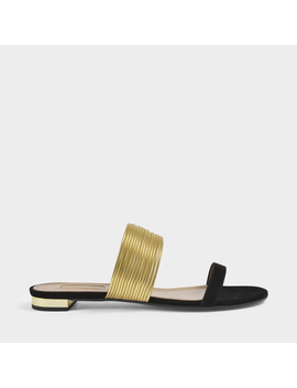 Rendez Vous Sandal Flat Shoes In Black And Gold Suede And Specchio by Aquazzura