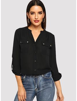 Puff Sleeve Knot Solid Top by Shein