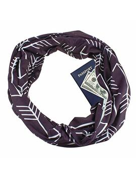 Zipper Pocketed Travel Scarf,Infinity Scarf With Pocket by Your Gallery