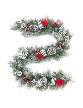 6 Ft. Unlit Snowy Garland With Pinecones And Bows by Home Accents Holiday