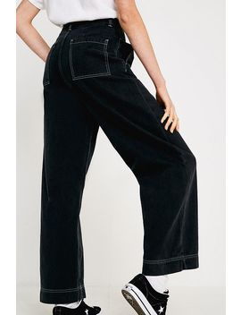 Bdg Black + Fluorescent Contrast Stitch Pleated Wide Jeans by Bdg