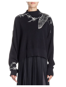 Floral Embroidered Mock Neck Pullover Sweater by Sacai