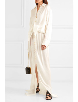 Button Embellished Pleated Crinkled Silk Satin Maxi Skirt by Balmain