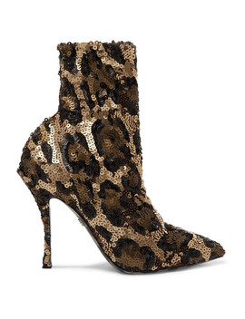 Sequined Stretch Knit Sock Boots by Dolce & Gabbana