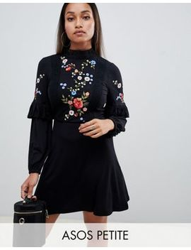 Asos Design Petite Embroidered High Neck Smock Dress by Asos Design