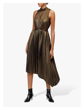 Warehouse Foil Pleated Dress, Gold by Warehouse
