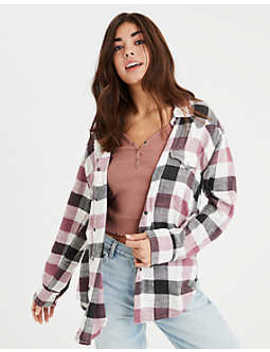 Ae Oversized Western Plaid Top by American Eagle Outfitters