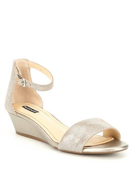 Mairitwo Metallic Leather Ankle Strap Wedge Sandals by Alex Marie