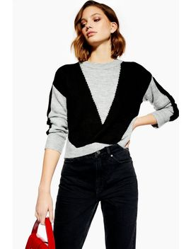 ** Panelled Kitted Jumper By Native Youth by Topshop