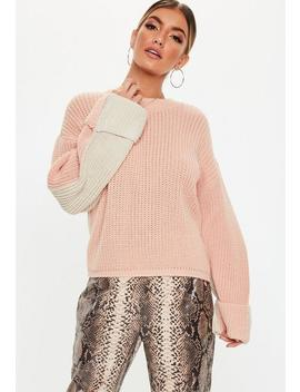 Nude Colourblock Splice Crew Neck Jumper by Missguided