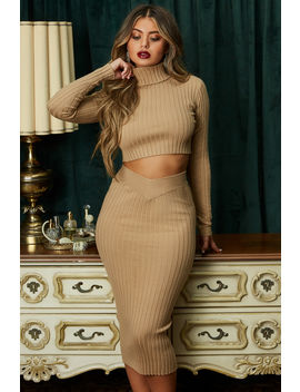 Neck & Neck Ribbed Knit Two Piece In Caramel by Oh Polly