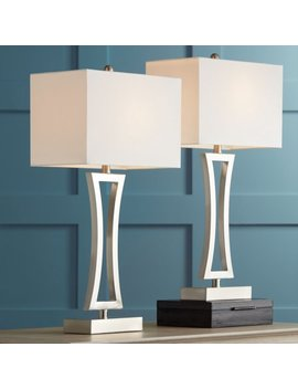 360 Lighting Modern Table Lamps Set Of 2 Brushed Steel Off White Rectangular Shade For Living Room Family Bedroom Bedside Office by 360 Lighting