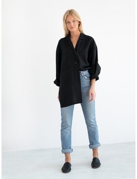 Rosemary Linen Jacket Black / Linen Blazer / Oversize Shirt / Handmade Clothing For Women by Etsy