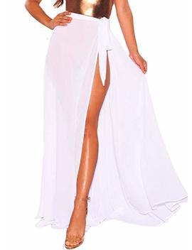 Actloe Women's Wrap Sheer High Waist Bikini Sarong Beach Cover Up Maxi Skirt by Actloe