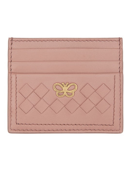 Pink Intrecciato Butterfly Card Holder by Bottega Veneta
