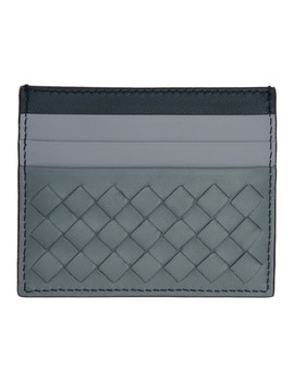 Blue & Grey Intrecciato Card Holder by Bottega Veneta