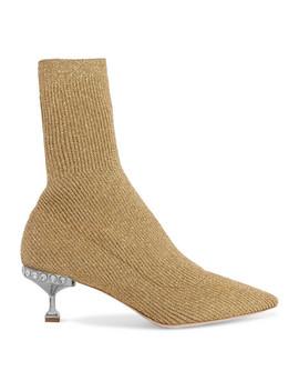 Crystal Embellished Metallic Ribbed Knit Sock Boots by Miu Miu