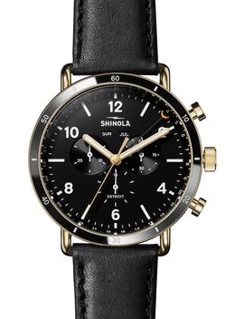 The Canfield Sport Chrongraph Leather Strap Watch, 45mm by Shinola